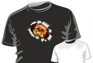 RIPPED TORN METAL Design With Gothic Horror Flaming Skull Motif mens or ladyfit t-shirt